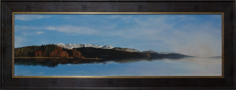 Fine art acrylic painting Loch Morlich Cairngorms