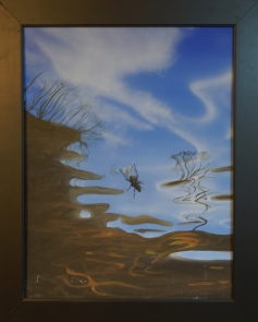 Painting of a bluebottle on the surface of the water , from an underwater perspective