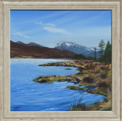 Paintings of a loch with mountains