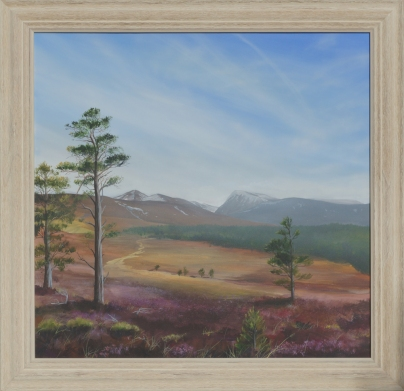 A painting of a heather moorland with mountaisn in the background