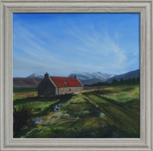A painting of a small cottage with snow-capped mountains in the background