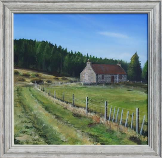 A painting of a small cottage in the countryside