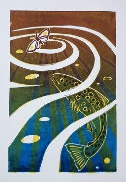 Trout, fine art print, angus grant art