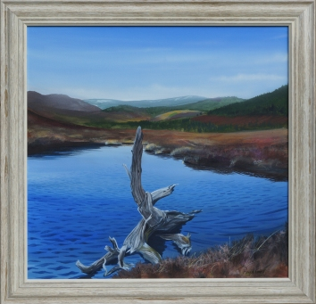 A painting of a dead tree beside a loch