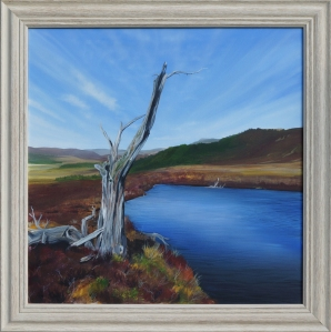 A painting of a dead tree standing beside a loch