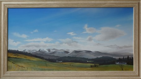 A painting of mountains on a bright day