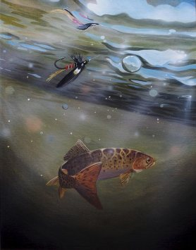 Painting of a fish swimming away from a brightly coloured lure