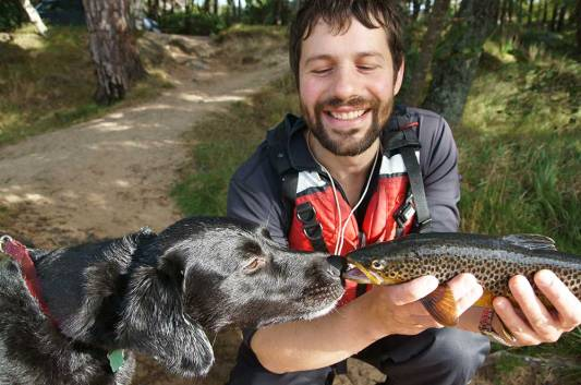 Dog meets trout, Angus Grant Art