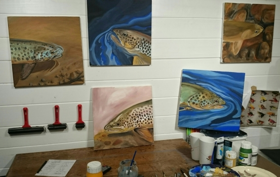 Five fish paintings trout water