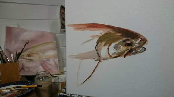 Trout, art, work in progress, fine art, angusgrantart.