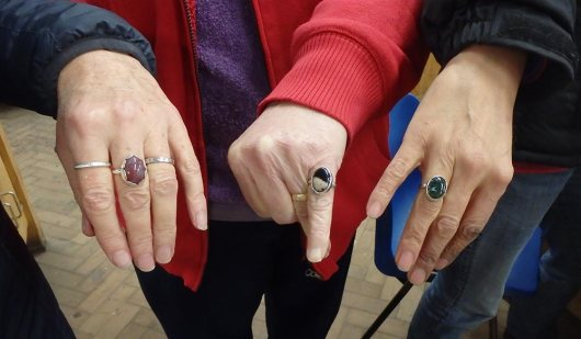 showing off silver rings, Angus Grant Art workshop