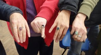 showing off silver rings