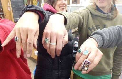 Rings on hands, Angus Grant Art workshop