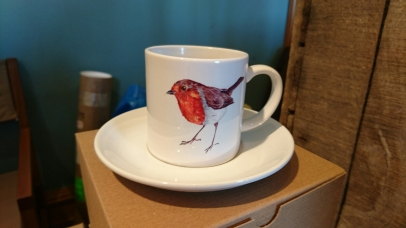 Robin cup and saucer, by Angus Grant Art