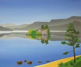 Loch an Eilein painting, Angus Grant Art