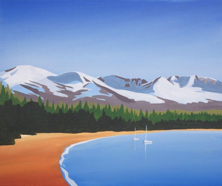 Loch Morlich painting, Angus Grant Art
