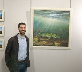 Angus Grant with pike painting