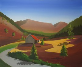 Ryvoan Bothy painting by Angus Grant