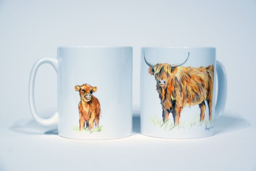 Highland Cow mugs by Angus Grant