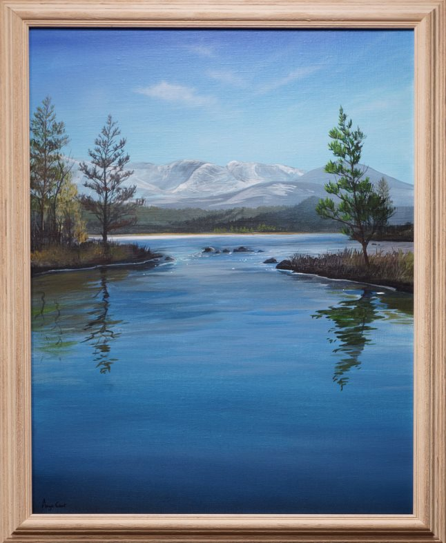 First view of Loch Morlich by Angus Grant, Loch Morlich painting