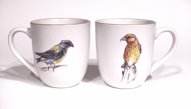 Crossbill chunky mug by Angus Grant Art