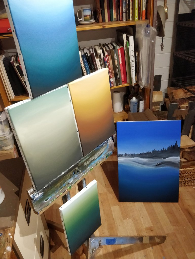 Starting more paintings in the studio