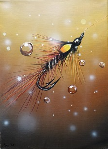 Claret Shrimp painting by Angus Grant