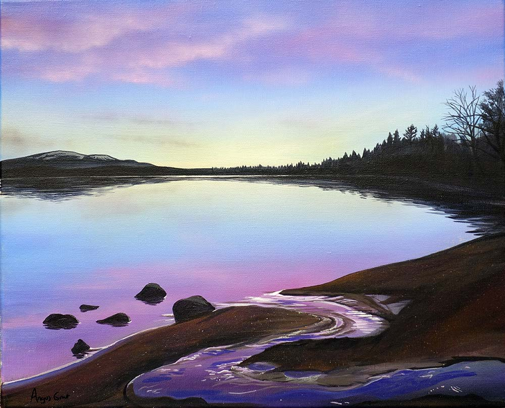 Morlich Magic by Angus Grant, Loch Morlich painting