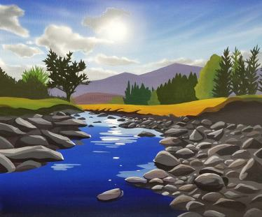 Sunset over the River Calder painting by Angus Grant