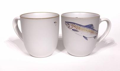 Salmon chunky mug by Angus Grant