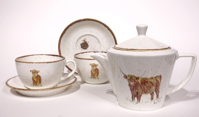 New Highland Cow teapots, cups and saucers from Angus Grant Art