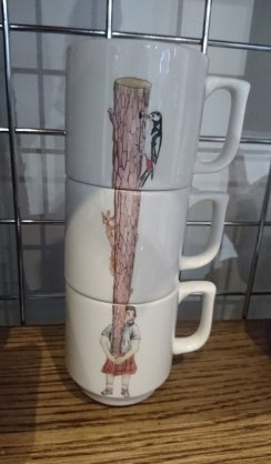 Caber tosser stacking mugs by Angus Grant Art