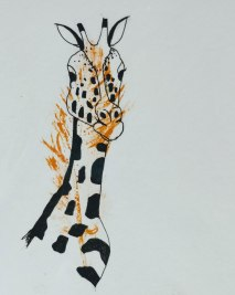 Giraffe picture with printed feather