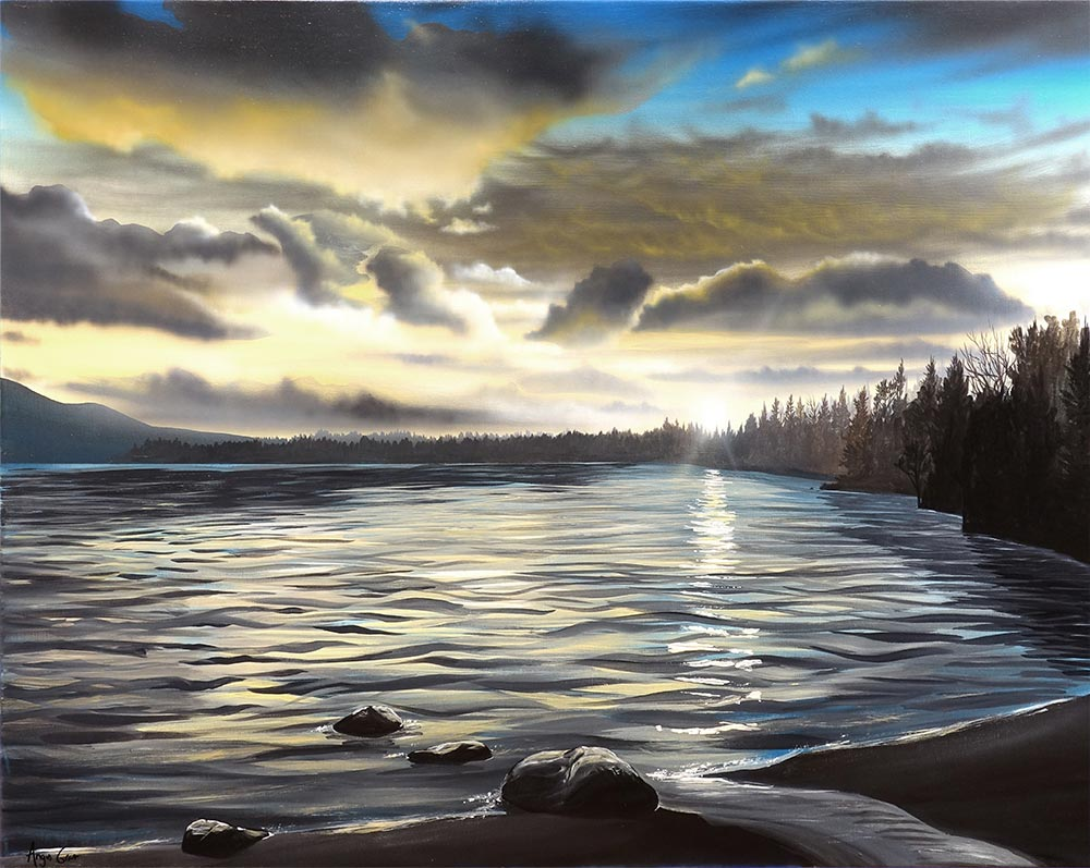 Sunset on Loch Morlich painting by Angus Grant Art