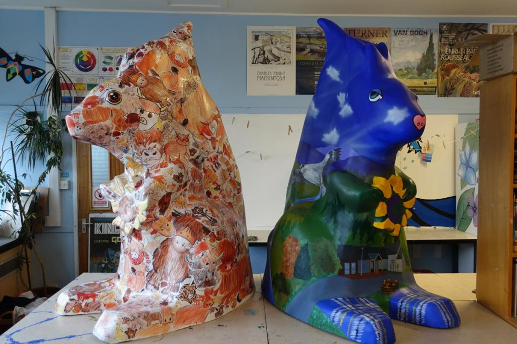 Angus Grant's two finished squirrels for the Highland Hospice