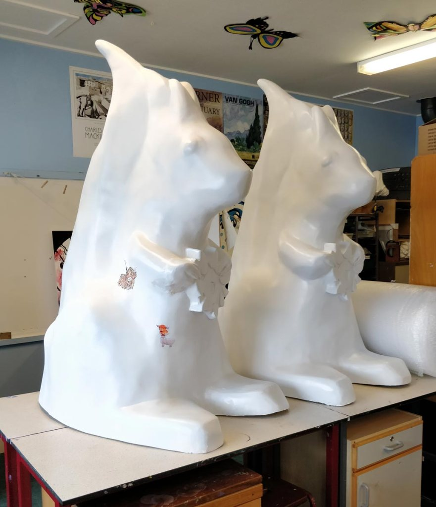 Two blank squirrel sculptures for Angus Grant Art