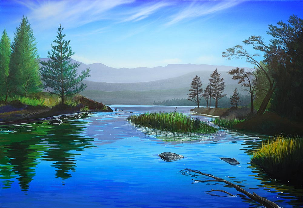 """Cool blue stream"" painting of Loch Morlich by Angus Grant"