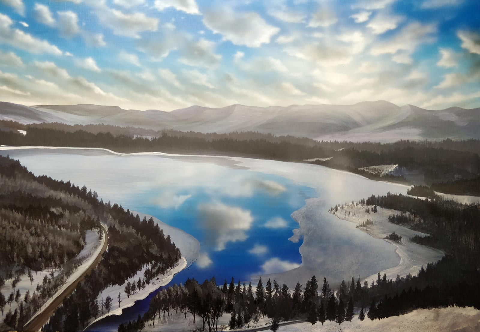 """""""Into the Cairngorms"""" painting of Loch Morlich by Angus Grant"""