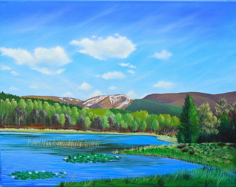 """Lilys in the Sun"" painting of the Lily Loch by Angus Grant"