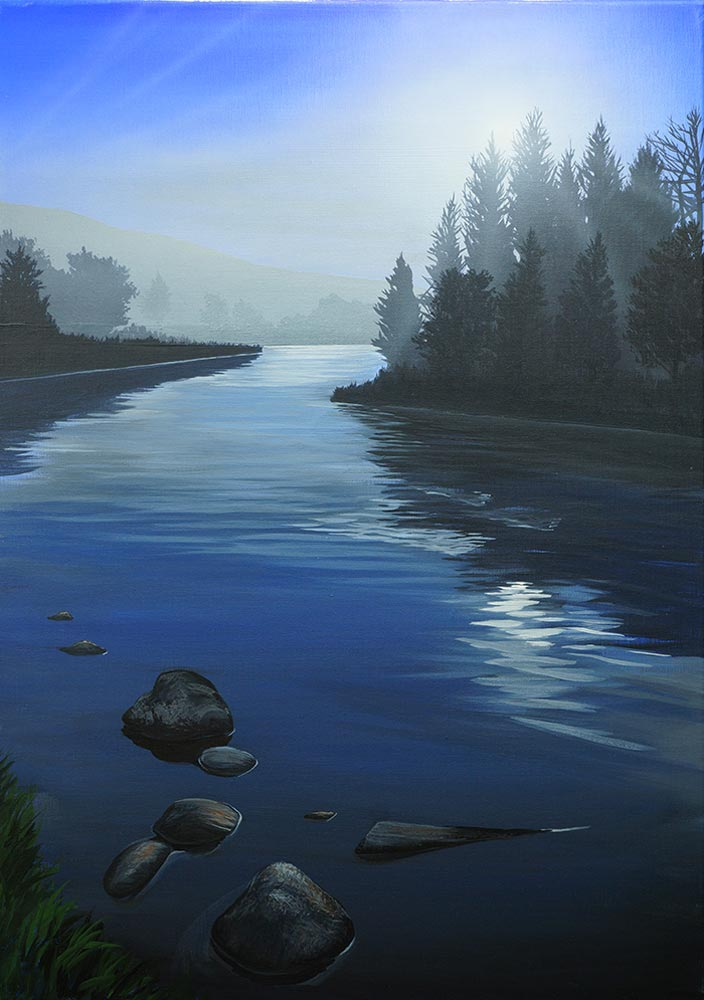 """""""Long Pool"""" painting of River Spey by Angus Grant"""