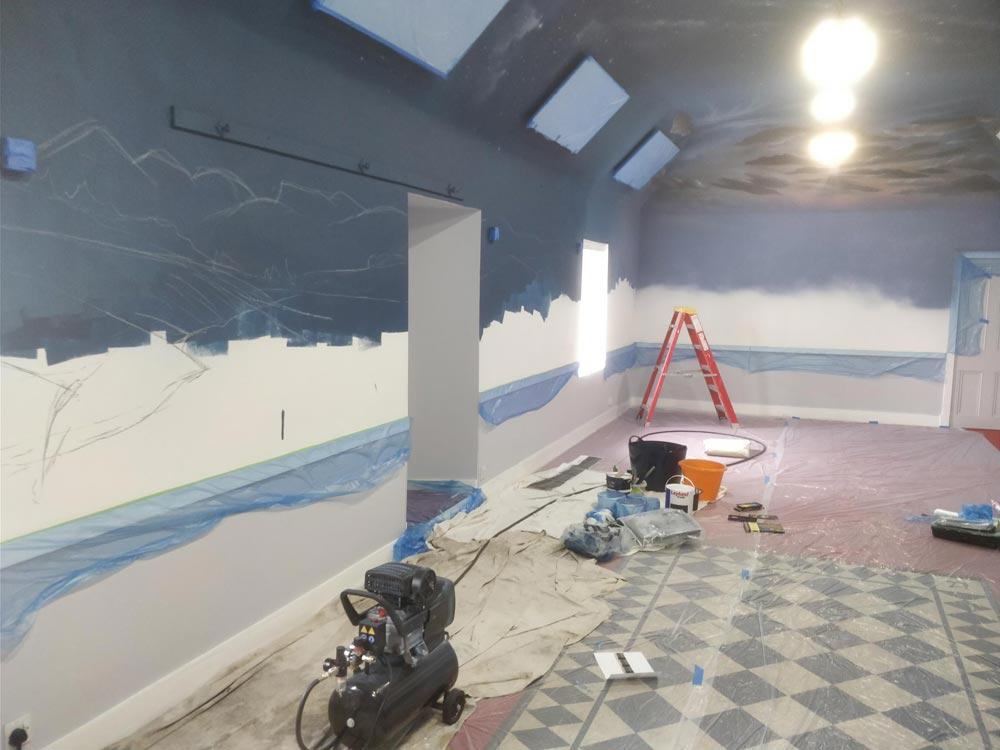 Walls in progress, Freemasons Lodge, Grantown-on-Spey, Angus Grant Art