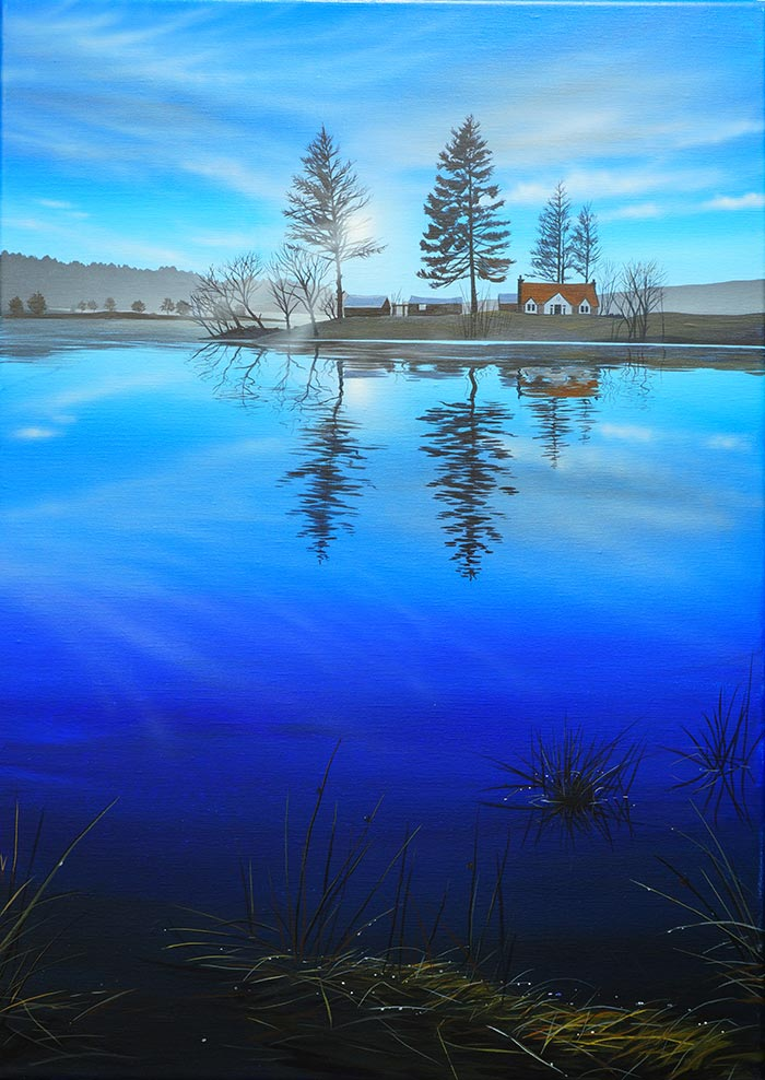 """""""Otters' View"""" painting of Avielochan by Angus Grant"""