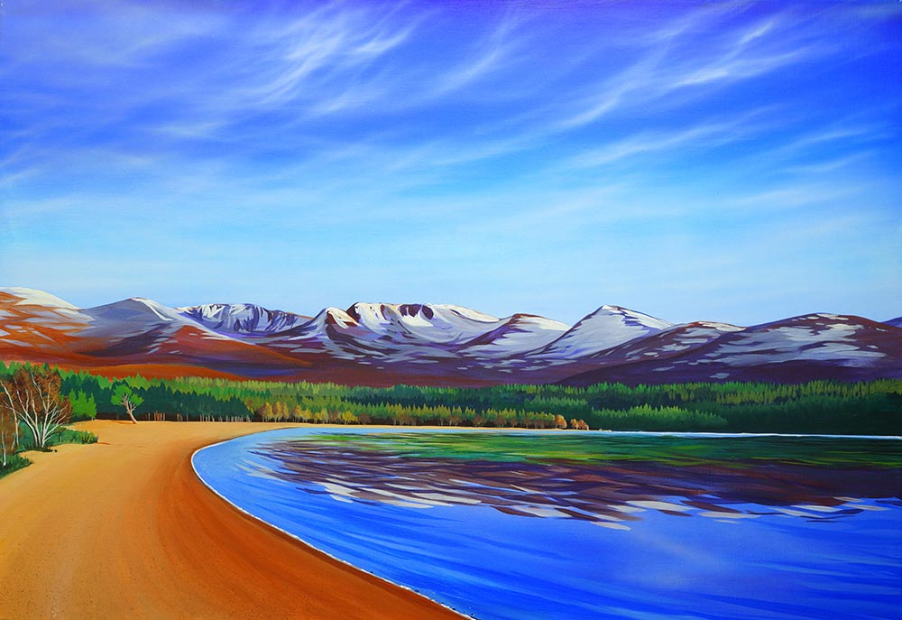 """Quiet Beach"" painting of Loch Morlich by Angus Grant"