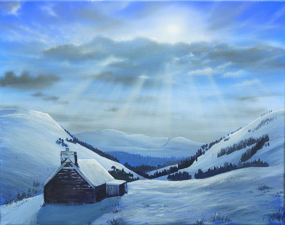 """Waking up"" painting of Ryvoan Bothy by Angus Grant"