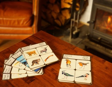 Highland Birds and Animals Coaster sets by Angus Grant