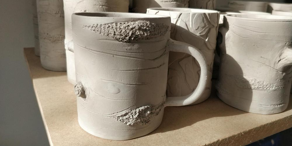 Tree mugs for the kiln by Angus Grant Art