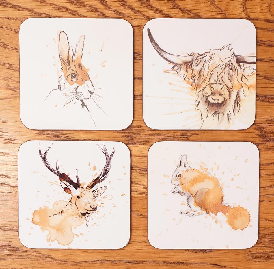 ArTea Scottish Wildlife Coasters by Angus Grant Art